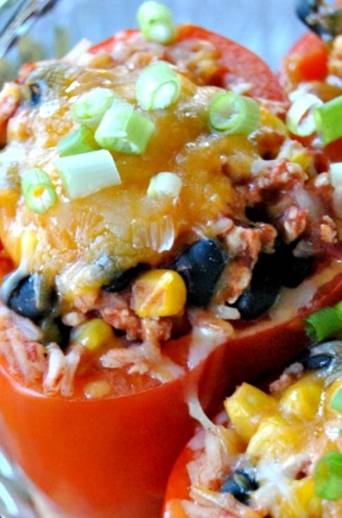 Santa Fe Stuffed Peppers Recipe ~ A healthier version of stuffed peppers, filled with flavor!