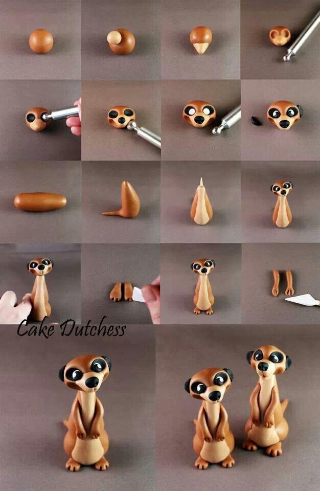 Como hacer una suricata en porcelana fria