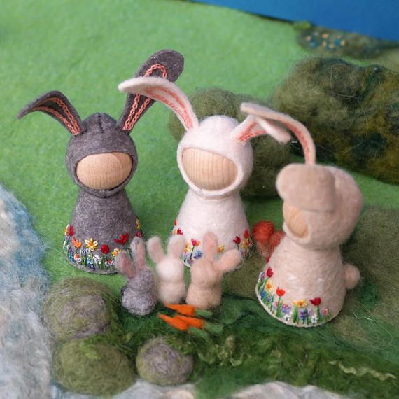 """White OR Gray Spring Bunny Waldorf inspired pegdoll and walnut """"Easter egg"""" with tiny needle felted bunny and carrot"""