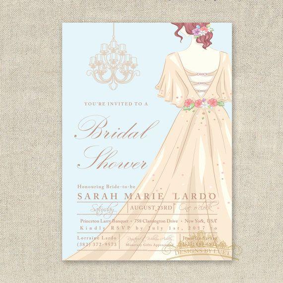 Wedding Dress Chandelier Bridal Shower Invitation - Bridal Shower Invite - Wedding Shower Invitation - DIY Printable - Digital File