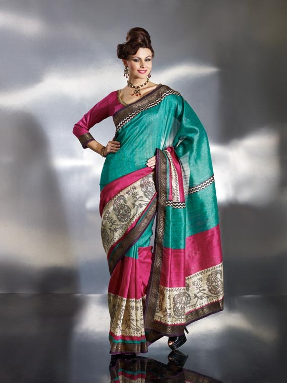 Deep Blue and Pink Banarasi Silk Saree - Famous designers tend to give reign to their imagination and create clothes that look interesting and guaded by the desire to attract attention. The glory and the passion speaks out for itself in this #Deep #Blue and Pink #Banarasi #Silk #Saree with Blouse, Banar | US$50.8