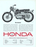 Honda Scrambler CL-72 Motorcycle 1965 Ad. A 250cc track and field bike. Twin carbs, overhead cams, one-piece connecting rods and uses roller and ball-bearings throughout. Cost about $690 plus dealer's transportation and set-up charges. Scrambler CL-72.