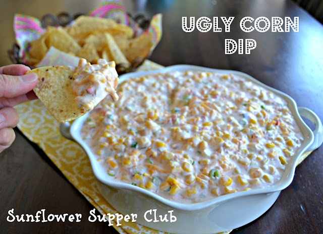 Ugly Corn Dip-- cream cheese, mayo, sour cream, 2 cans mexi-corn, a can of Hot Rotel (can someone tell me what this is??) green onions, cheddar cheese sugar and garlic-- sounds amazing!!