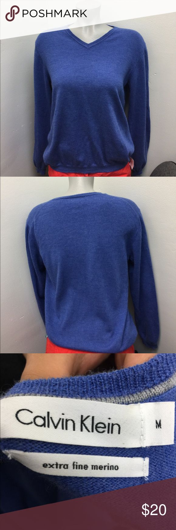 CALVIN KLEIN Men V NECK SWEATER SORRY GUYS, I don't have a male mannequin lol PERFECT CONDITION made with extra fine Merino Wool Calvin Klein Sweaters V-Neck
