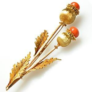 M BUCCELLATI VINTAGE CORAL POPPY BROOCH PIN SOLID 18K GOLD