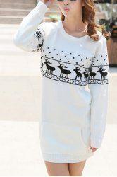 Trendy Long Sleeve Jewel Neck Christmas Sweater For Women (WHITE,L)   Sammydress.com Mobile