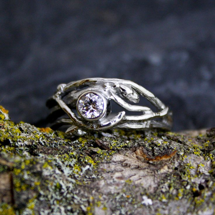 SWOON.  Ethical Canadian Diamond 14kt White Gold Engagement Branch Twig Tree Organic Ring by opalwing on Etsy https://www.etsy.com/listing/153033985/ethical-canadian-diamond-14kt-white-gold