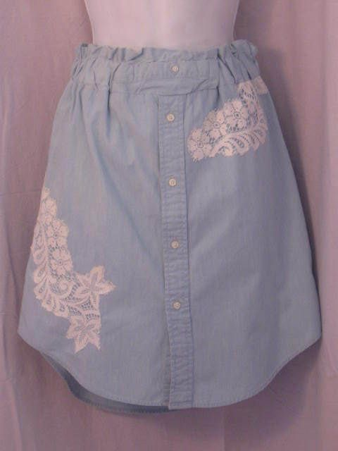 Chambray A-line Elastic Waist Skirt with Vintage Lace by HappyRagz