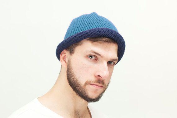 Navy Blue Mens Knit hat Cloche Hat blue Men Wool by OneHatStore