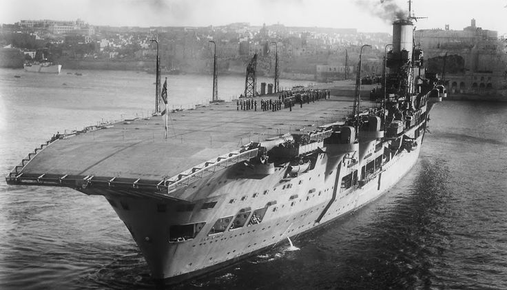 HMS Aircraft Carrier, Ark Royal in Malta 1939.