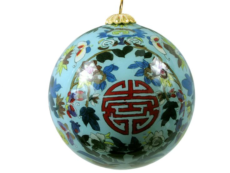 Longevity Symbol Eglomise Glass Ornament