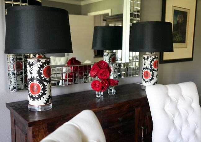 like the idea of printed lamps: Interior Design, Idea, Accent Lamps, Suzani Lamps, Flowers Fit