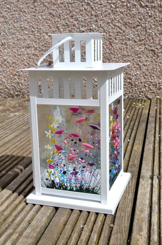Handmade Fused Glass Art Wildflower Lantern Etsy