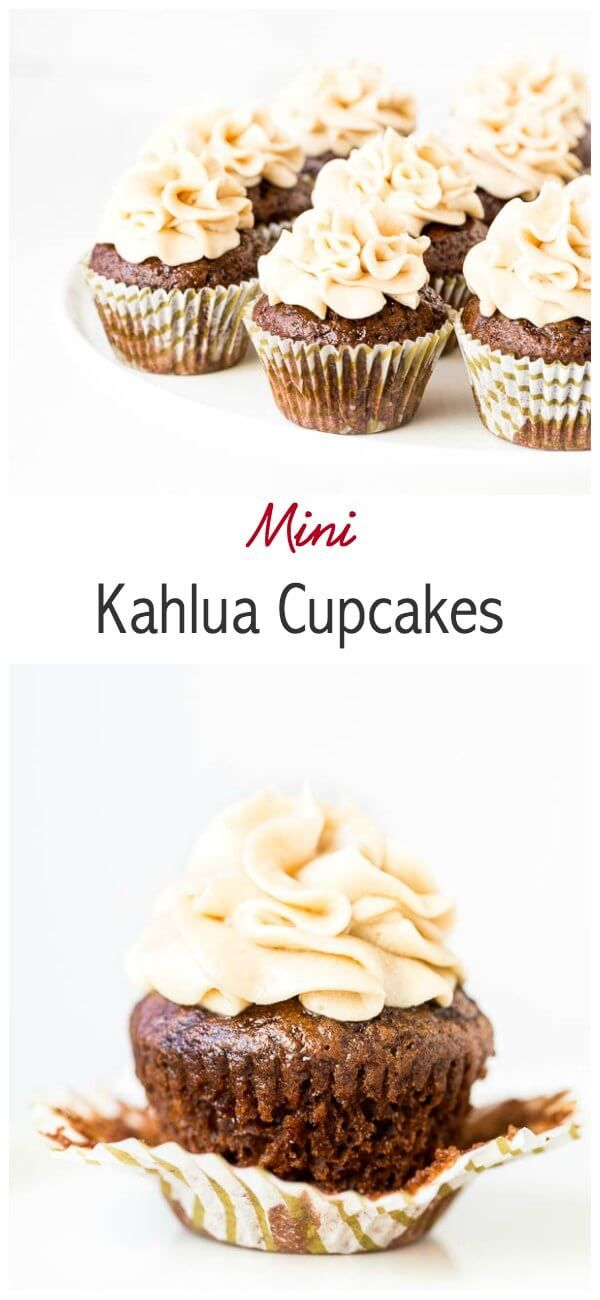 Irresistibly chocolate-y and boozy, these mini Kahlua cupcakes are simply heaven in small bites and a breeze to make. No mixer required!