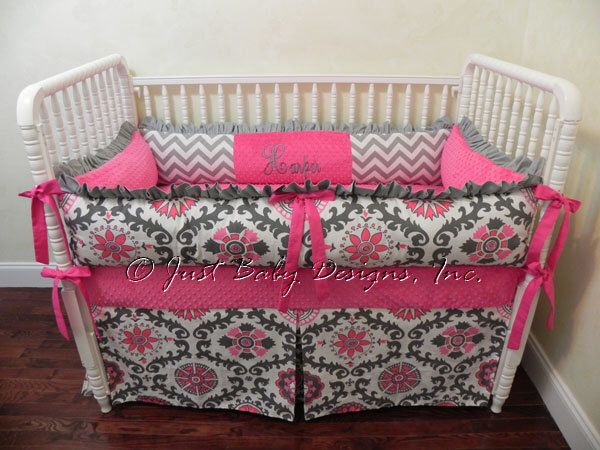 Custom Crib Bedding Rosa - Girl Baby Bedding, Hot Pink and Gray Crib Bedding, Hot Pink Baby Bedding by BabyBeddingbyJBD on Etsy https://www.etsy.com/listing/183981300/custom-crib-bedding-rosa-girl-baby