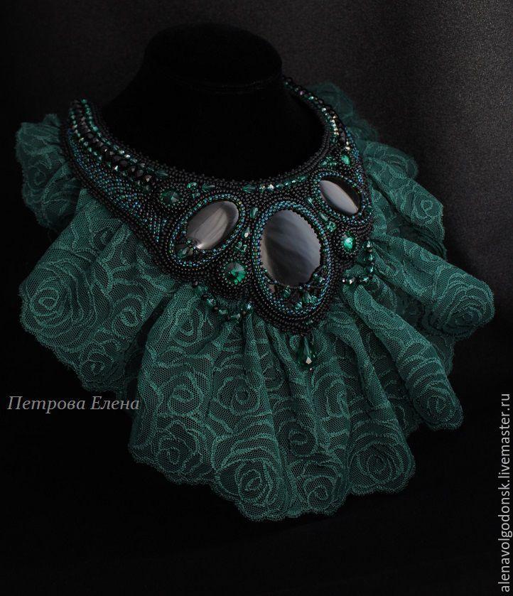"""Купить Колье """"Emerald rose"""" черные обсидианы, кружева - черный, зеленый…"""