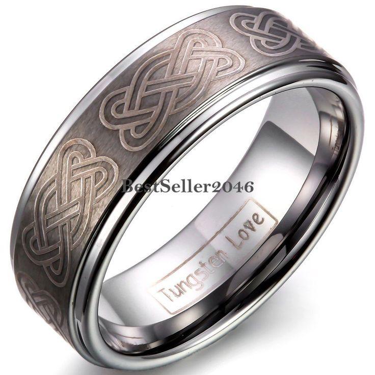 Herren Wolframcarbid Ring Keltische Knoten Lasergravur 8mm breit Herz Infinity