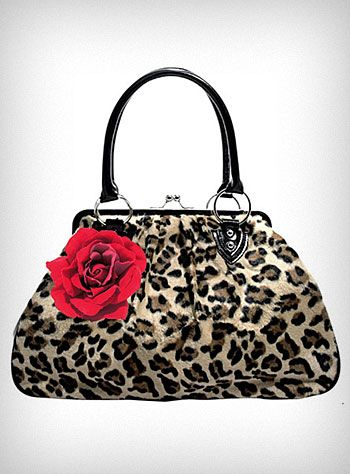 """Retro pin-up girl inspired """"Lucky Me"""" handbag, by Lux de Ville, features a leopard print faux fur body with black patent sides and handles, a big red rose on the front, and silver bullet feet on the bottom."""