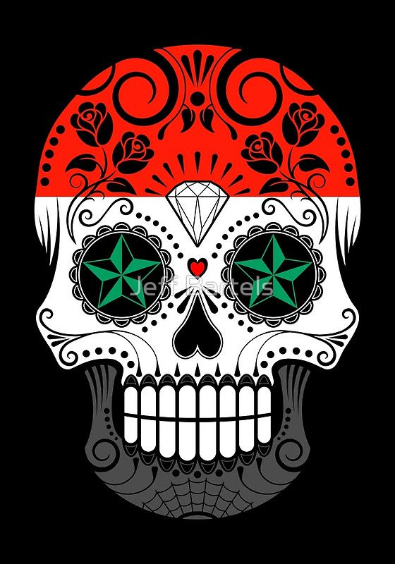 Sugar Skull with Roses and Flag of Syria