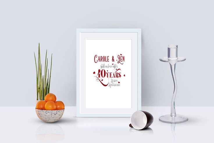 Real Foil, Personalised Ruby Wedding Anniversary Print, 40th Anniversary, Anniversary Gift, Anniversary Present, Valentine Gift, Wedding Art by SBsPrintables on Etsy
