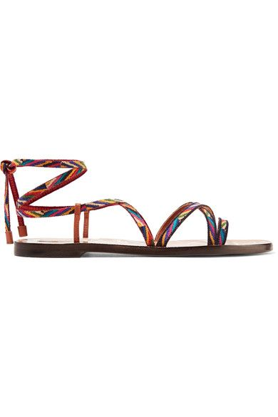 Valentino - Embroidered Leather Sandals - Tan - IT