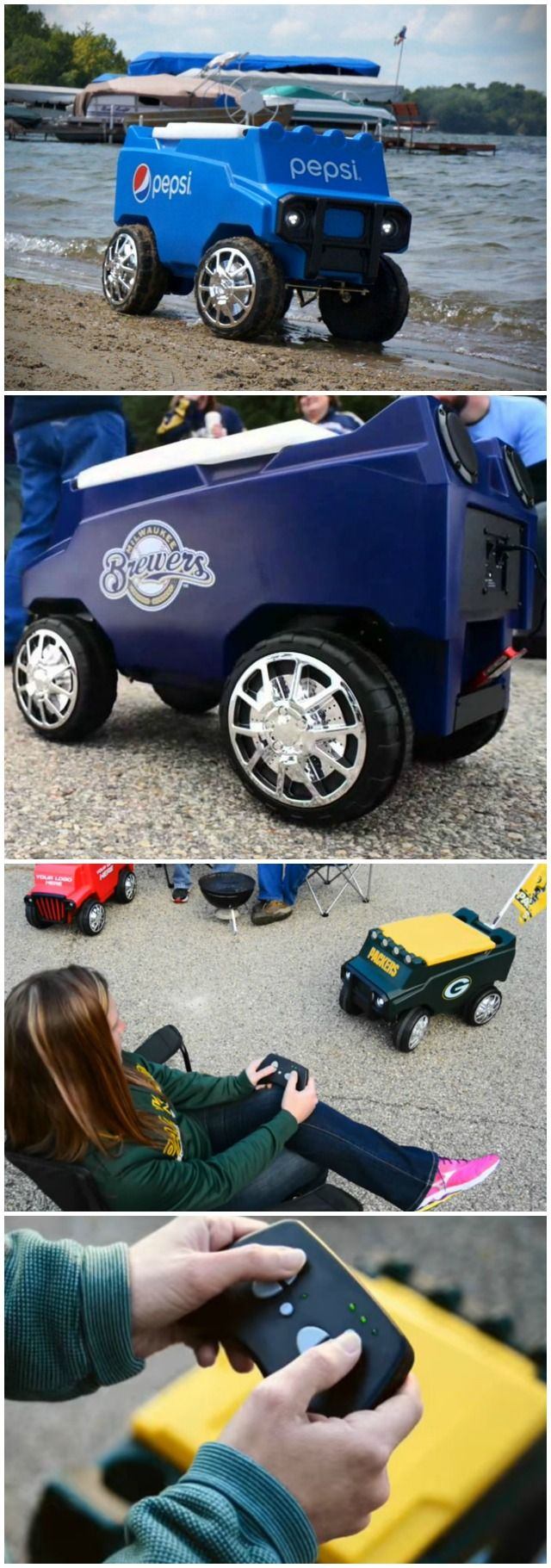 Let the fun begin with your remote control, C3 Rover Cooler. Be the envy of your friends as you deliver cold beverages and hot music.