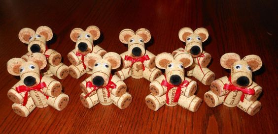 Teddy bears made from old wine corks. TOO CUTE! (Buy them on Etsy or make them yourself if you happen to have some excess corks around the house.)