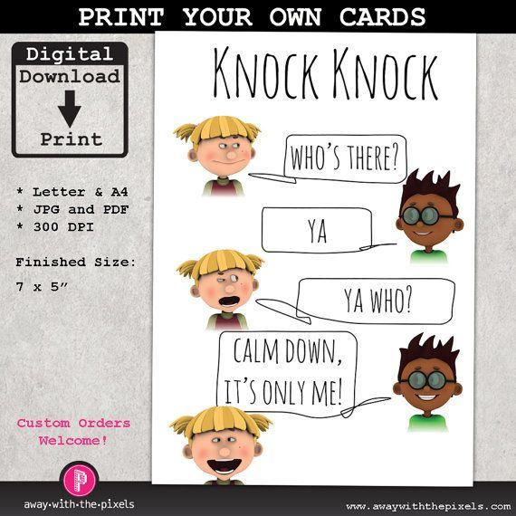 Knock Knock Ya Who Joke Greeting Card For Kids, Instant