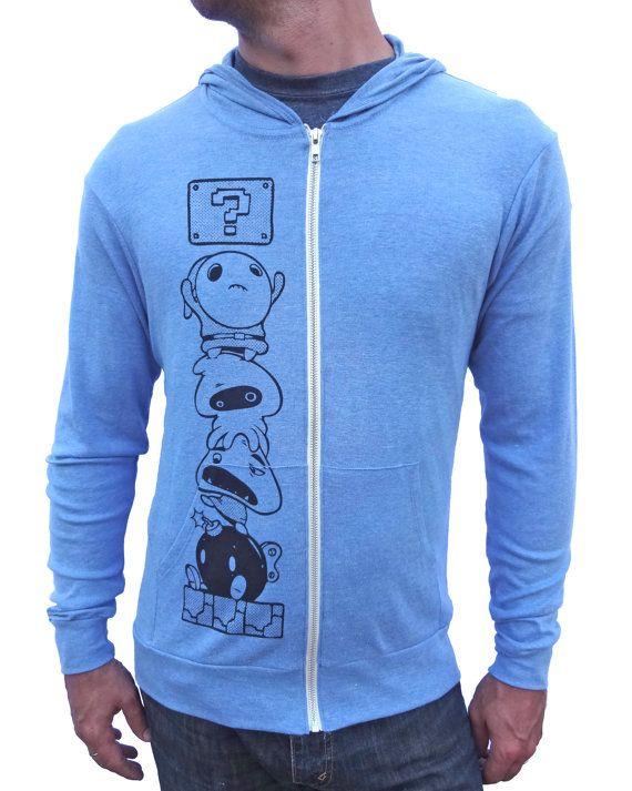 $54.95 Click to buy! Mario Gamer Hoodie Zip Up Sweatshirt Blue Hoodie. Art by Justin Hillgrove Imps and Monsters.
