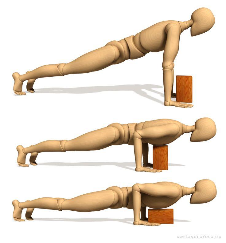 Use a yoga block to ease into full Chaturanga Dandasana. I'm glad I found this!!