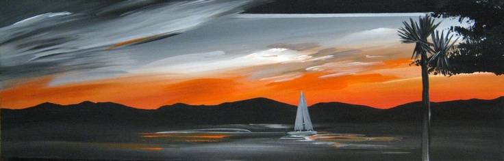 Title: Sunset view: Title: Original landscape painting by artist Megan Morris, painted in acrylics onto framed canvas.