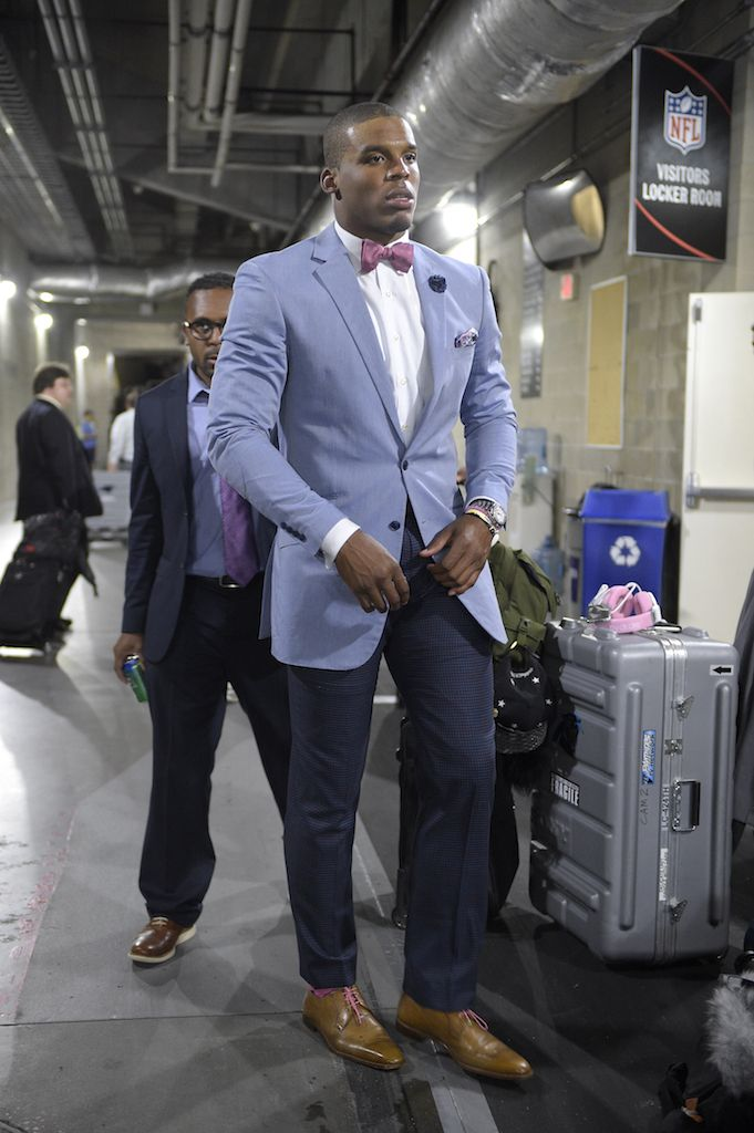 Carolina Panthers quarterback Cam Newton stood out in style this week, rocking a look we love for the office. Take note and switch out your typical blazer for a powder blue option. It's a great way to shake up your style. (AP Photo/Phelan M. Ebenhack)
