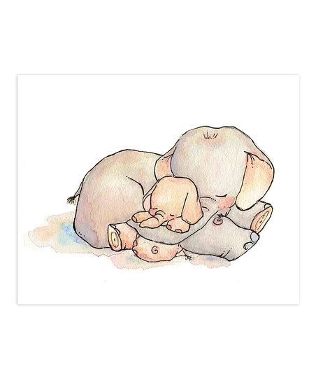 LoxlyHollow My Baby Elephant Print | zulily