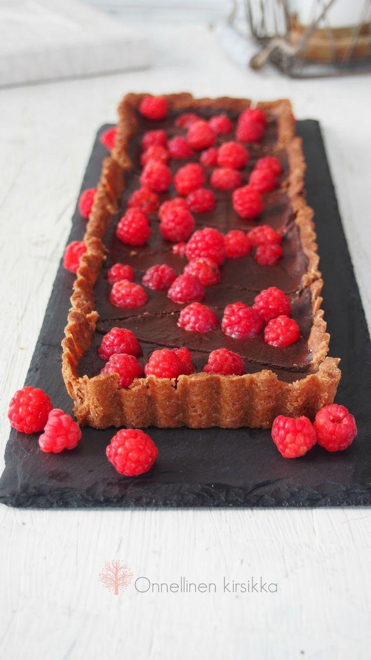 Chocolate raspberry tart.   Suklainen vadelmatorttu (munaton)