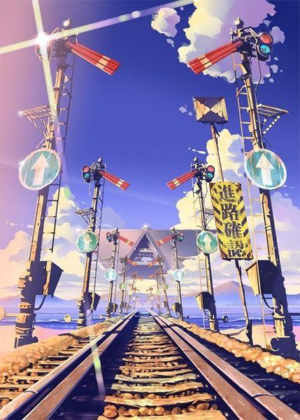 Master Anime Picture Wallpapers Original Art Scene Artits Visual Perspective Motion Blur (http://epicwallcz.blogspot.com/) Power Lines Racing School Uniform Girls Anime Sky Cloud Train/Tren RailS Station (http://masterwallcz.blogspot.com/)