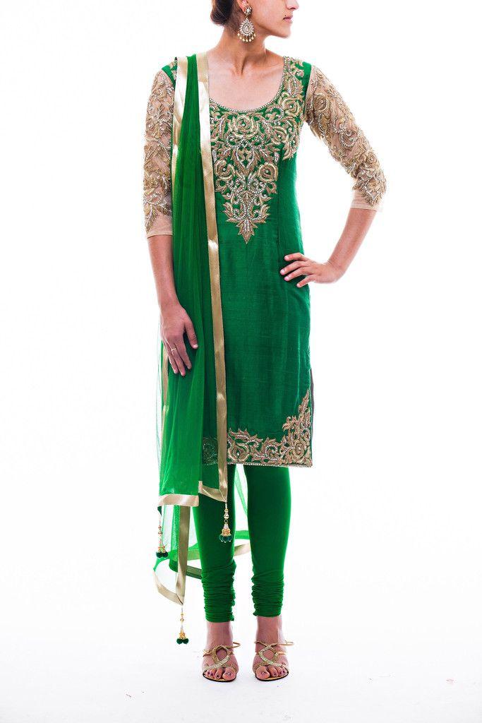 Green raw silk kameez with gold zardozi embroidery with a matching stretchy pajami. Net dupatta