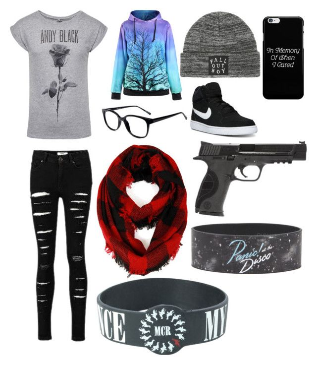 """Basic hipster band freak"" by gabiwilcox on Polyvore featuring GlassesUSA, NIKE, Cozy by LuLu and Smith & Wesson"