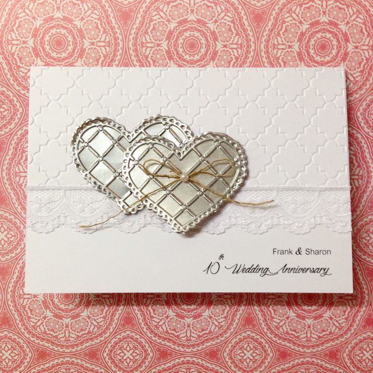 10th Wedding Anniversary Card. The hearts were made out of a soft drink can using the Sizzix Big Shot machine - as the 10th wedding anniversary is tin. Made by Pammypumpkin! #sizzix