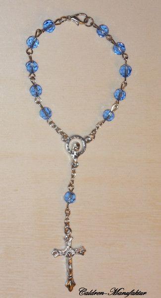 Medaillions & Amulette - 10er Rosenkranz Mini Rosenkranz Glasperlen blau - ein Designerstück von Caldren bei DaWanda