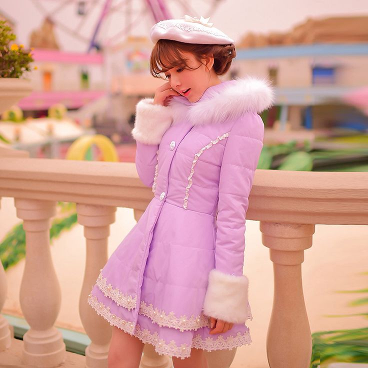 Princess sweet purple Cotton coat Candy rain Embroidery Lace Brow decoration Single breasted Sweet Japanese design C16CD5964