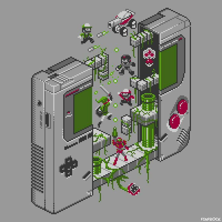 The Inside of a Gameboy, with Mario, Link, Samus, Mega Man, Luigi, Metroid and Piranha Plant.