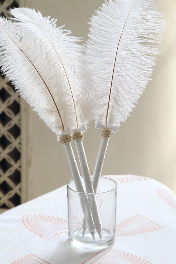 """2pcs/pack  White ostrich feather  guest book pen  for wedding 14-16"""" long on Etsy, $17.17 CAD"""