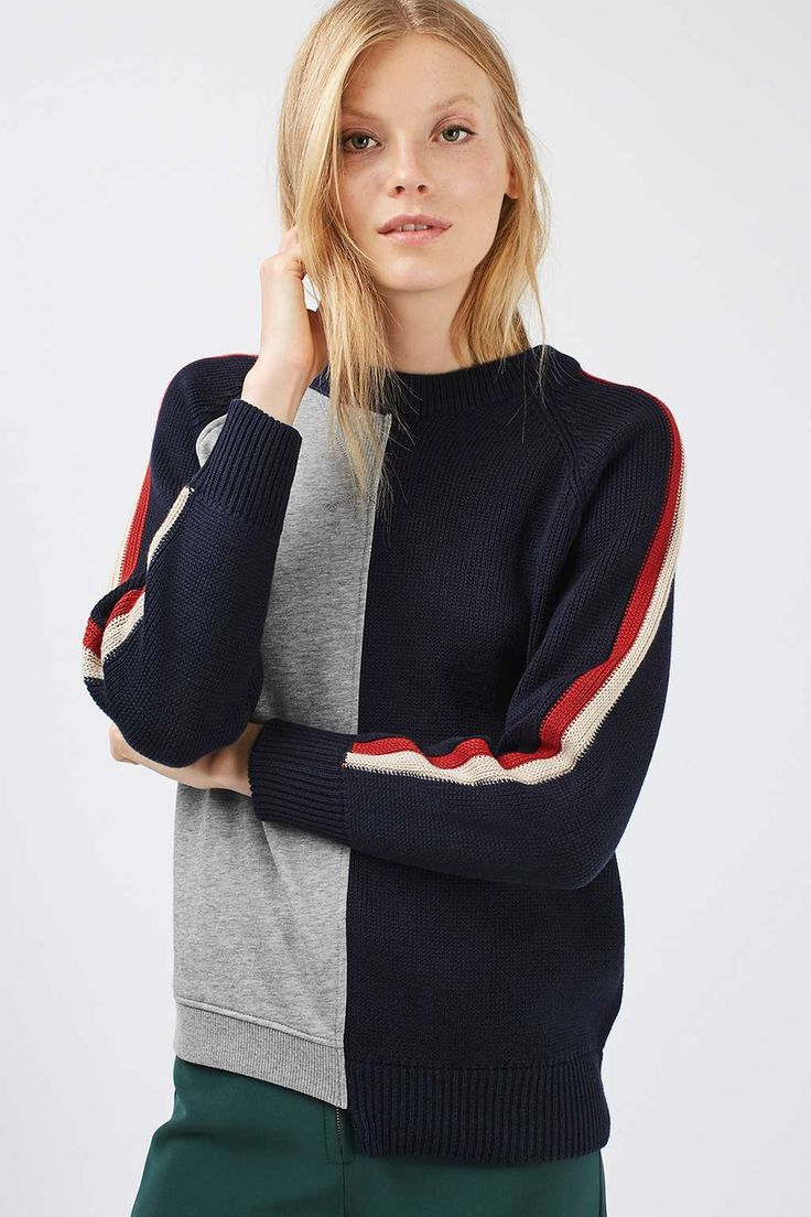 womens topshop cutabout colorblock sweater sar liked on polyvore featuring tops sweaters navy blue multi color block sweater stripe sweater - Color Block Vetement