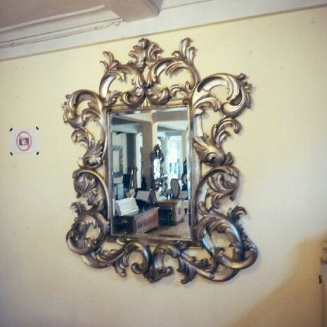 Heavy carved mirror Silver Leave