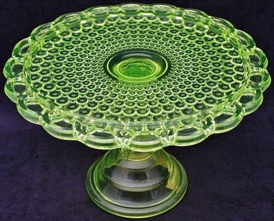 Antique Vaseline Glass | Beautiful Antique Vaseline Glass Thousand Eye Pattern Pedestal Cake ...