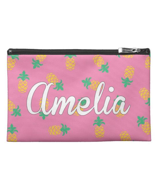 Pink Pineapple Dreams Personalized Pencil Case