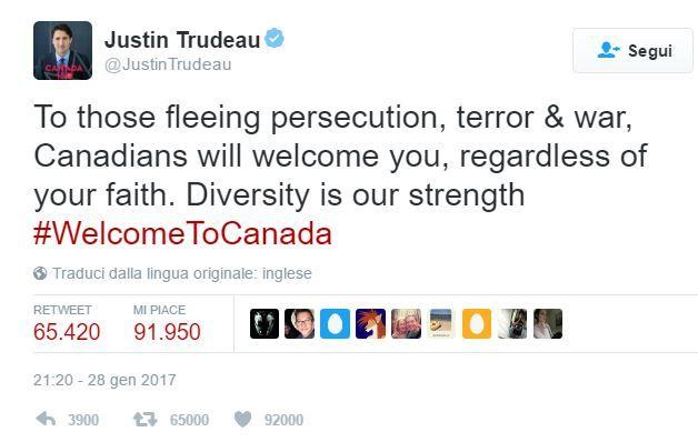 La diversità è la nostra forza! Firmato Justin Trudeau, Prime Minister of Canada. #trump #Potos @JustinTrudeau