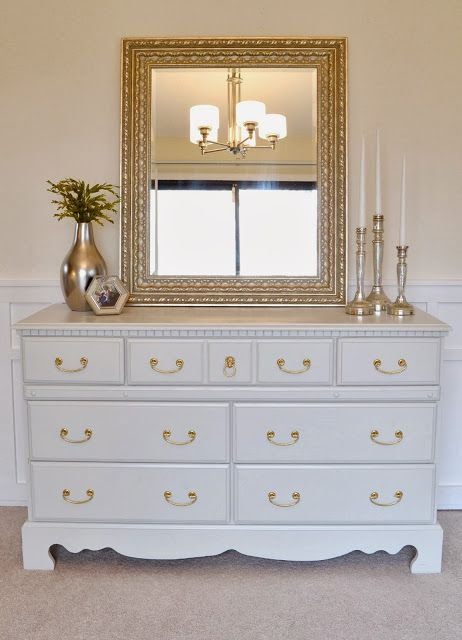 Dresser and gold handles.  How to paint furniture and get professional results the EASY way! This is great!