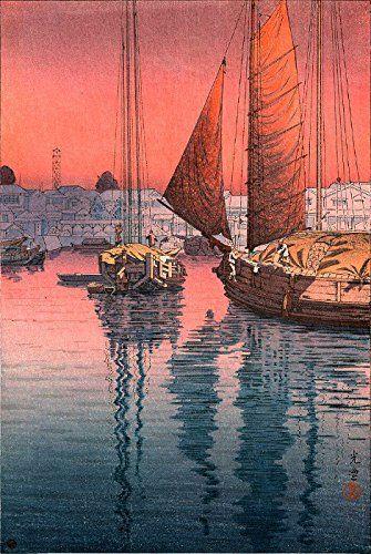 "Japanese Art Print ""Sunset at Tomonotsu, Inland Sea"" by Tsuchiya Koitsu. Shin Hanga and Art Reproductions http://www.amazon.com/dp/B00XWUWY2M/ref=cm_sw_r_pi_dp_Ph9twb09FBYMR"