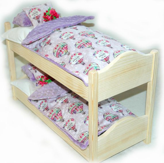 Double Doll Bunk Bed - Dreaming! - Fits 18 inch dolls and AG dolls  •.¸¸.•´¯`•.♥.•´¯`•.¸¸.•Dreaming! Double Bunk Bed•.¸¸.•´¯`•.♥.•´¯`•.¸¸.•.  Double Doll Bunk Bed - Pink & Green! - Fits 18 inch dolls and AG dolls  Everything needed for a fun, sleepover party! • A superior quality doll bed handcrafted out of the finest knotty pine. The entire bed is seamless and sanded to a soft finish . It is built extremely sturdy and has been tested to withstand up to 30lbs (by our very experienced bed…
